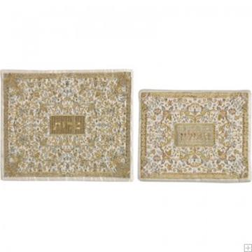 """תמונה של תיק לטלית ותפילין עם ריקמה מלאה """"פרחים"""" (זהב ולבן) - יאיר עמנואל"""