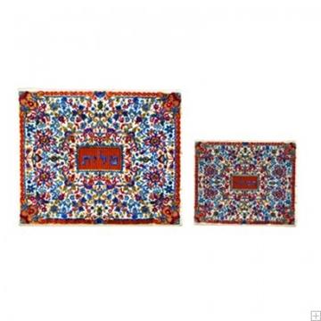 """תמונה של תיק לטלית ותפילין עם ריקמה מלאה """"פרחים"""" (אדום) - יאיר עמנואל"""