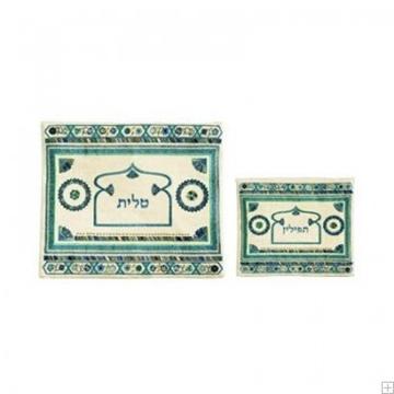 """תמונה של תיק לטלית ותפילין עם ריקמה """"אוריינטלי"""" (טורקיז) - יאיר עמנואל"""