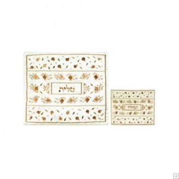 """תמונה של תיק לטלית ותפילין עם ריקמה """"רימונים"""" (זהב על לבן) - יאיר עמנואל"""