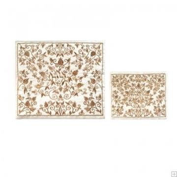 """תמונה של תיק לטלית ותפילין עם ריקמה """"גפן רימונים"""" (זהב על לבן) - יאיר עמנואל"""