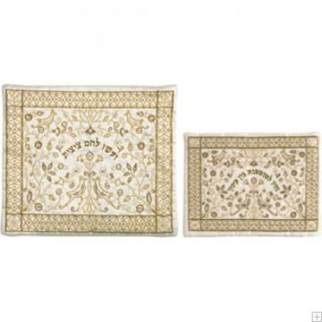 """תמונה של תיק לטלית ותפילין עם ריקמה """"פרח רימונים"""" (זהב על לבן) - יאיר עמנואל"""