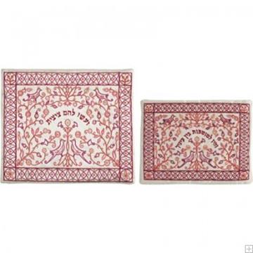 """תמונה של תיק לטלית ותפילין עם ריקמה """"פרח רימונים"""" (אדום על לבן) - יאיר עמנואל"""