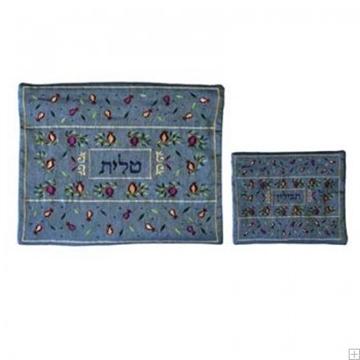 """תמונה של תיק לטלית ותפילין עם ריקמה """"רימונים ועלים"""" (כחול) - יאיר עמנואל"""