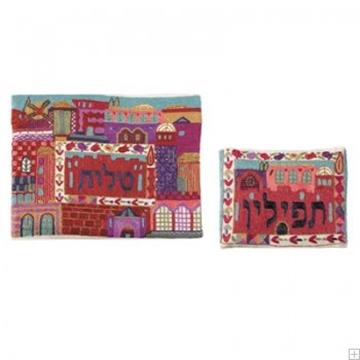 """תמונה של תיק לטלית ותפילין עם ריקמה בעבודת יד """"ירושלים העתיקה"""" (אדום) - יאיר עמנואל"""