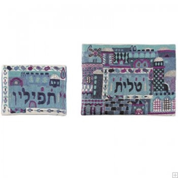 """תמונה של תיק לטלית ותפילין עם ריקמה בעבודת יד """"ירושלים העתיקה"""" (כחול) - יאיר עמנואל"""