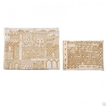 """תמונה של תיק לטלית ותפילין עם ריקמה בעבודת יד """"ירושלים העתיקה"""" (זהב) - יאיר עמנואל"""