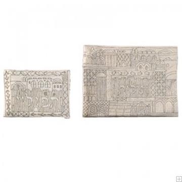 """תמונה של תיק לטלית ותפילין עם ריקמה בעבודת יד """"ירושלים העתיקה"""" (כסף) - יאיר עמנואל"""