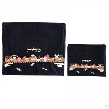 """תמונה של תיק לטלית ותפילין מקטיפה עם ריקמה """"ירושלים העתיקה"""" (צבעוני) - יאיר עמנואל"""