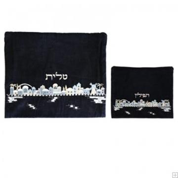 """תמונה של תיק לטלית ותפילין מקטיפה """"ירושלים העתיקה"""" (כחול) - יאיר עמנואל"""
