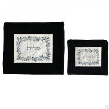 """תמונה של תיק לטלית ותפילין מקטיפה עם ריקמה """"רימונים"""" (כחול) - יאיר עמנואל"""