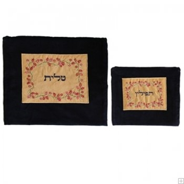 """תמונה של תיק לטלית ותפילין מקטיפה עם ריקמה """"רימונים"""" (זהב) - יאיר עמנואל"""