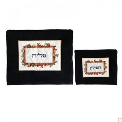 """תמונה של תיק לטלית ותפילין מקטיפה """"ירושלים העתיקה"""" - יאיר עמנואל"""