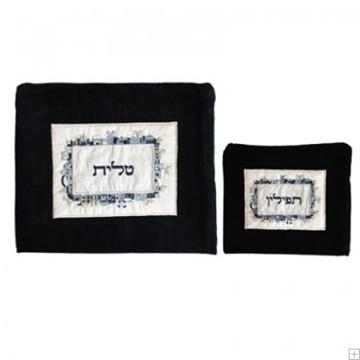 """תמונה של תיק לטלית ותפילין מקטיפה """"ירושלים העתיקה"""" (כחול - מרובע)"""