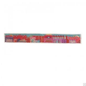 """תמונה של עטרה רקומה בעבודת יד לטלית """"ירושלים העתיקה"""" (אדום) - יאיר עמנואל"""