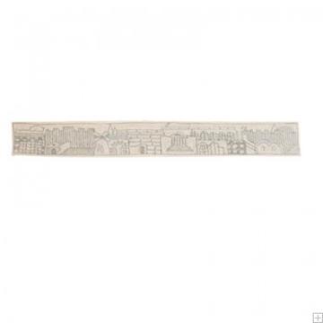 """תמונה של עטרה רקומה בעבודת יד לטלית """"ירושלים העתיקה"""" (כסף) - יאיר עמנואל"""