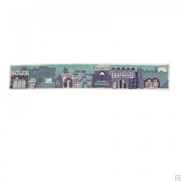 """תמונה של עטרה רקומה בעבודת יד לטלית """"ירושלים העתיקה"""" (כחול) - יאיר עמנואל"""