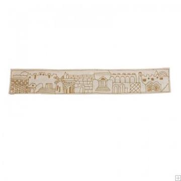 """תמונה של עטרה רקומה בעבודת יד לטלית """"ירושלים העתיקה"""" (זהב) - יאיר עמנואל"""
