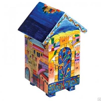"""תמונה של קופת צדקה מעץ בצורת בית """"ירושלים העתיקה"""" - יאיר עמנואל"""
