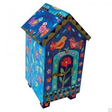 """תמונה של קופת צדקה מעץ בצורת בית """"ציפורים"""" - יאיר עמנואל"""