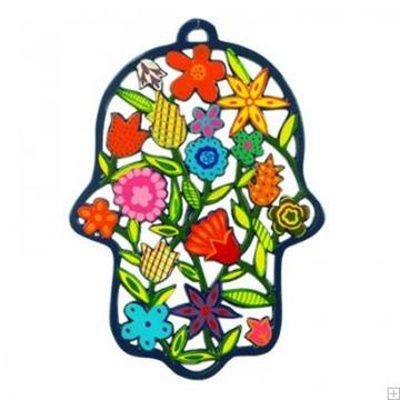 """תמונה של חמסה גדולה ממתכת בחיתוך לייזר צבועה ביד """"פרחים"""" - יאיר עמנואל"""
