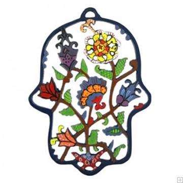 """תמונה של חמסה ממתכת בחיתוך לייזר צבועה ביד """"פרחים ועלים"""" - יאיר עמנואל"""