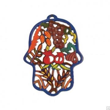 """תמונה של חמסה ממתכת בחיתוך לייזר צבועה ביד """"שבעת המינים"""" - יאיר עמנואל"""