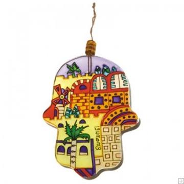 """תמונה של חמסה מזכוכית """"טחנת רוח ירושלים"""" - יאיר עמנואל"""