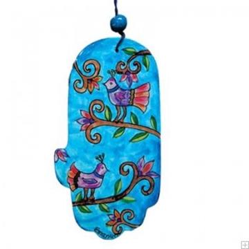 """תמונה של חמסה מעץ """"ציפורים"""" (כחול) - יאיר עמנואל"""