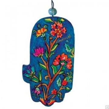 """תמונה של חמסה מעץ """"פרחים"""" - יאיר עמנואל"""