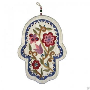"""תמונה של חמסה רקומה ממשי עם קריסטלים """"פרחים"""" - יאיר עמנואל"""
