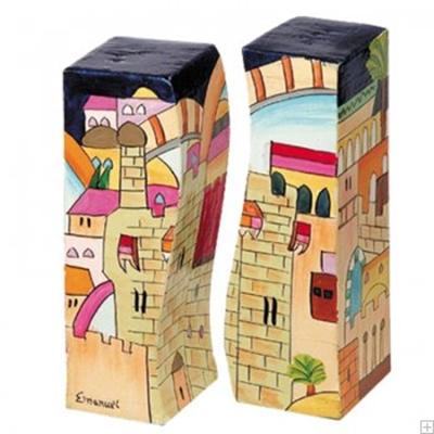 """תמונה של מלחיה ופלפליה מעץ """"ירושלים העתיקה"""" - יאיר עמנואל"""