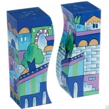 """תמונה של מלחיה ופלפליה מעץ """"ירושלים העתיקה"""" (כחול) - יאיר עמנואל"""