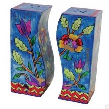 """תמונה של מלחיה ופלפליה מעץ """"פרחים"""" (כחול) - יאיר עמנואל"""