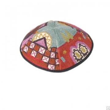 """תמונה של כיפה רקומה בעבודת יד """"ירושלים העתיקה"""" (צבעוני) - יאיר עמנואל"""