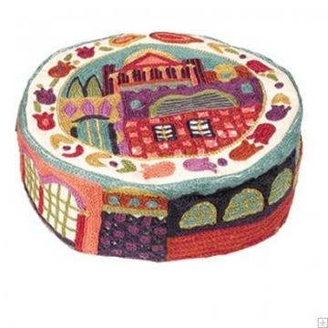 """תמונה של כובע רקום בעבודת יד """"ירושלים העתיקה"""" (צבעוני) - יאיר עמנואל"""