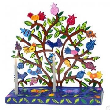 """תמונה של חנוכיה צבועה ממתכת חתוכה בלייזר """"עץ ציפורים"""" - יאיר עמנואל"""