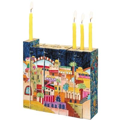 """תמונה של חנוכיה אקורדיון מעץ """"ירושלים העתיקה"""" - יאיר עמנואל"""