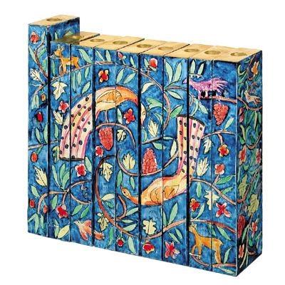 תמונה של חנוכיה אקורדיון מעץ סגנון אוריינטלי - יאיר עמנואל