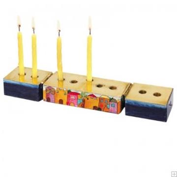 """תמונה של חנוכיה מעץ מתקפלת לנרות שבת """"ירושלים העתיקה"""" - יאיר עמנואל"""