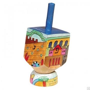 """תמונה של סביבון קטן מעץ עם תושבת """"ירושלים העתיקה"""" - יאיר עמנואל"""
