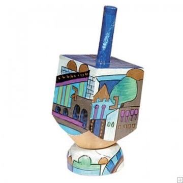 """תמונה של סביבון קטן מעץ עם תושבת """"ירושלים העתיקה"""" (כחול) - יאיר עמנואל"""