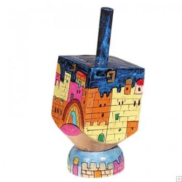 """תמונה של סביבון קטן מעץ עם תושבת """"ירושלים העתיקה"""" (צבעוני) - יאיר עמנואל"""