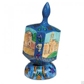 """תמונה של סביבון גדול מעץ עם תושבת """"ירושלים העתיקה"""" (כחול) - יאיר עמנואל"""