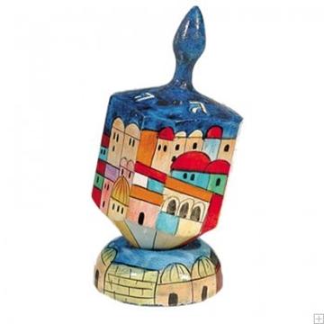 """תמונה של סביבון גדול מעץ עם תושבת """"ירושלים העתיקה"""" (צבעוני) - יאיר עמנואל"""