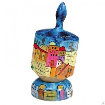 """תמונה של סביבון גדול מעץ עם תושבת """"ירושלים העתיקה"""" - יאיר עמנואל"""