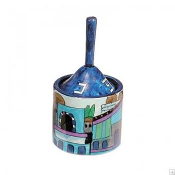 """תמונה של סביבון מעץ עם קופסה """"ירושלים העתיקה"""" (כחול) - יאיר עמנואל"""