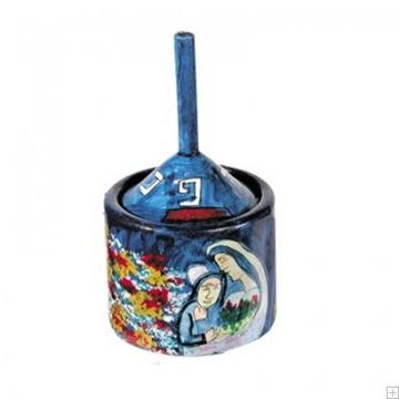"""תמונה של סביבון מעץ עם קופסה """"דמויות"""" (כחול) - יאיר עמנואל"""