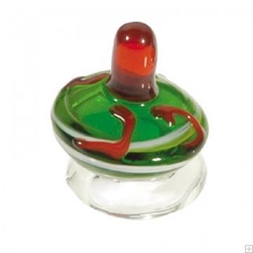 תמונה של סביבון מזכוכית עם תושבת (ירוק ואדום) - יאיר עמנואל