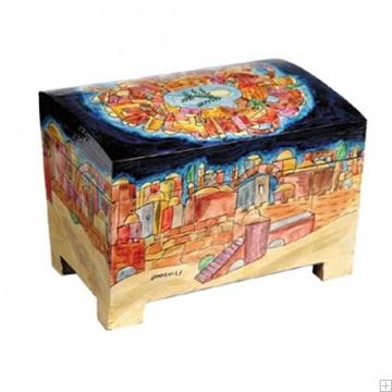 """תמונה של קופסה לאתרוג מעץ """"ירושלים העתיקה"""" - יאיר עמנואל"""